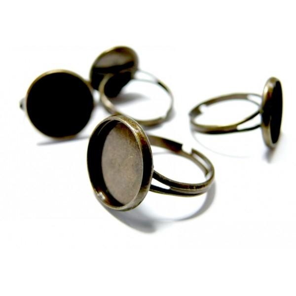Lot de 10 supports de bague anneaux double fins 14mm Laiton Coloris Bronze - Photo n°1