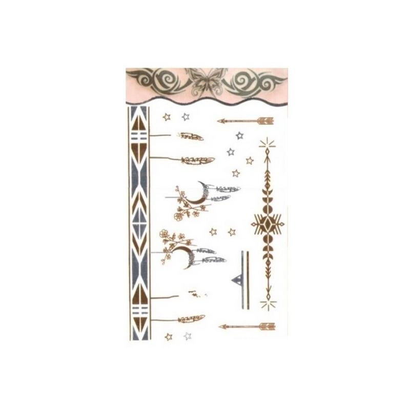 Tatouage Ephemere Metal Bracelet Lune Et Plumes Dore Et Argent Planche Tattoo 15 5 X 9 5 Cm Bijoux De Peau Creavea