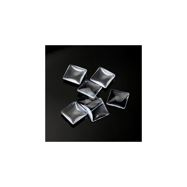 S1113939 PAX 10 Cabochons en verre Transparent Forme CARRE 25mm - Photo n°2