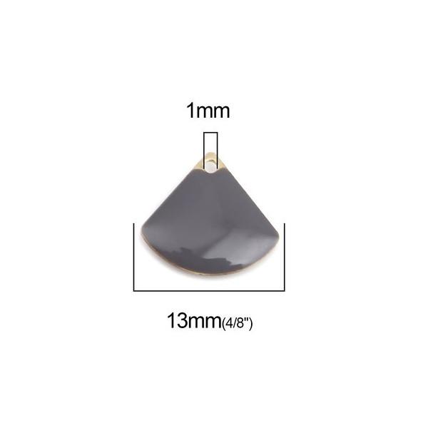 PS110238230 PAX 5 sequins médaillons émaillés Eventail 13 par 12mm Gris - Photo n°2
