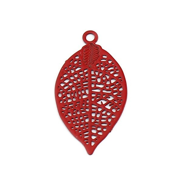 PS11655475 PAX de 20 Estampes pendentif filigrane Feuille 19 mm Rouge - Photo n°1
