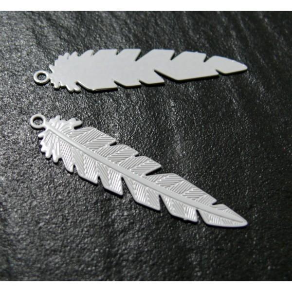 PS11655481 PAX 10 Estampes pendentifs Plumes Ajourées 35mm cuivre couleur Blanc - Photo n°2