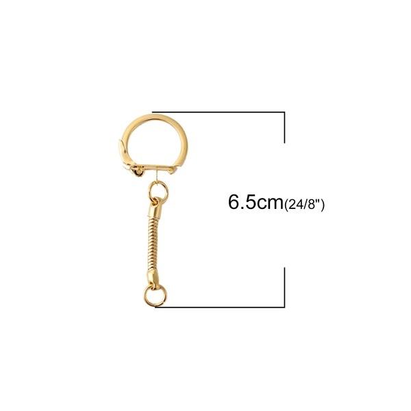 PS110100291 PAX 5 Porte Cles, Porte Clefs metal couleur Doré Avec Chaine - Photo n°3