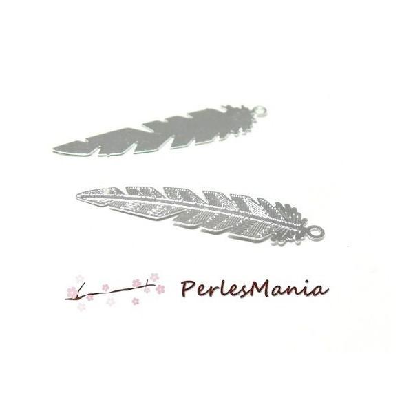 PS11655482 PAX 10 Estampes pendentifs Plumes Ajourées 35mm cuivre couleur Argent Vif - Photo n°1