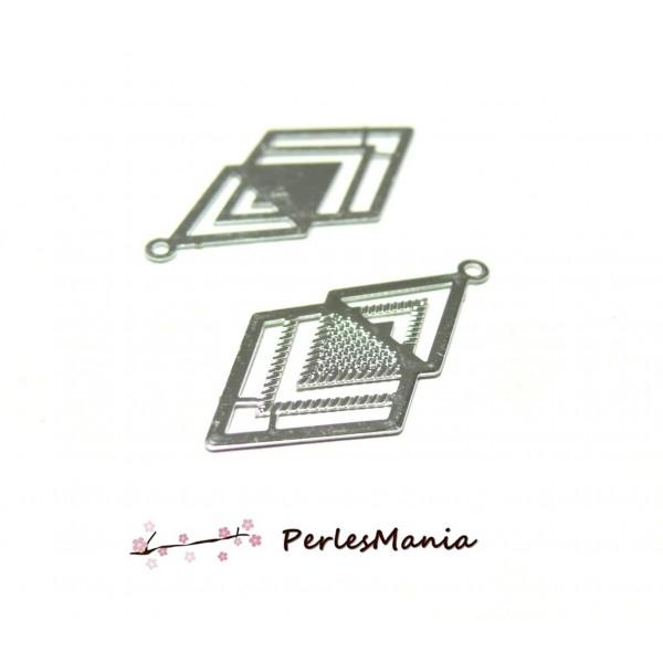 Lot de 4 Estampes connecteur filigrane DOUBLE LOSANGE ARGENT VIF de 25 mm C6005 - Photo n°1