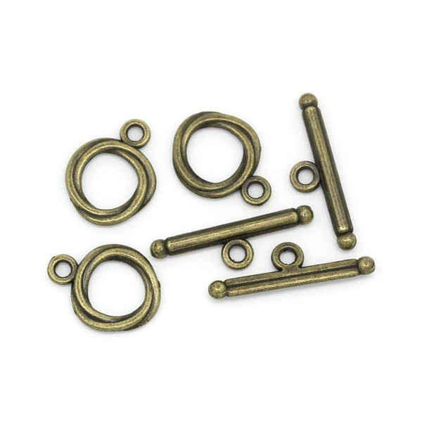 PS1103046 PAX 20 sets fermoirs T toggle TORSADE metal couleur BRONZE - Photo n°1