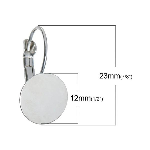 PS1116771 PAX 20 supports Boucles d'oreille dormeuse Argent Platine Plateau Lisse de 12mm - Photo n°2
