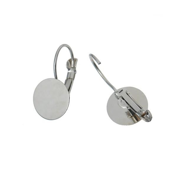 PS1116771 PAX 20 supports Boucles d'oreille dormeuse Argent Platine Plateau Lisse de 12mm - Photo n°3