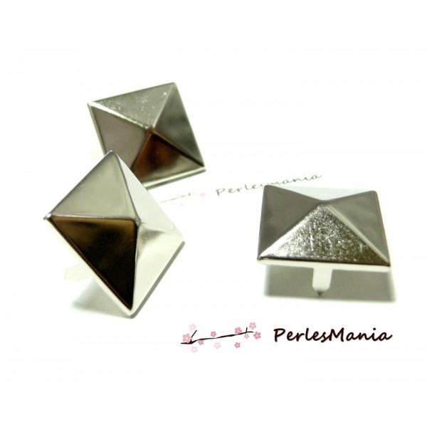 PS1122557 PAX 50 Clous Rivets 9mm pyramide carré à 4 griffes cuivre ARGENT PLATINE - Photo n°2