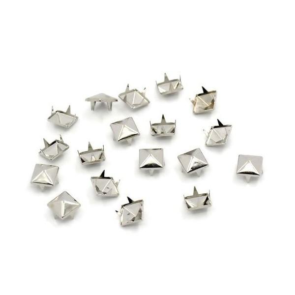PS1122557 PAX 50 Clous Rivets 9mm pyramide carré à 4 griffes cuivre ARGENT PLATINE - Photo n°3