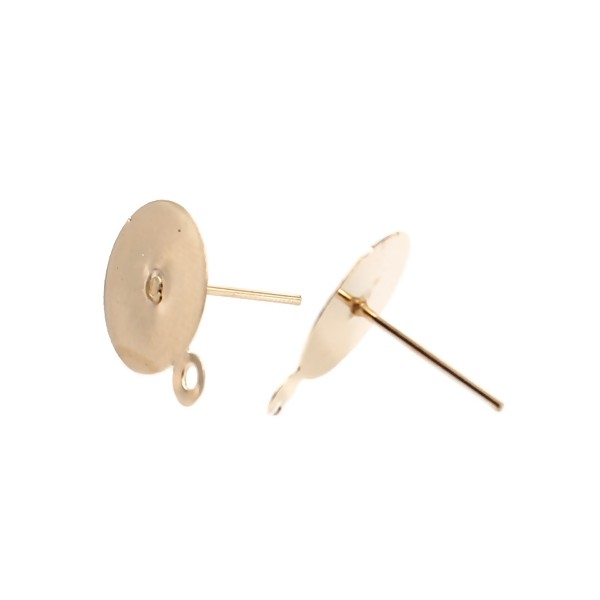 PS11655444 PAX 50 boucles d' oreille PUCE 12mm avec attache et embouts métal coloris Doré - Photo n°1