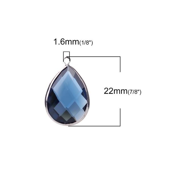 PS110100855 PAX 4 pendentifs Goutte de Verre Bleu 22 mm métal Argenté - Photo n°2