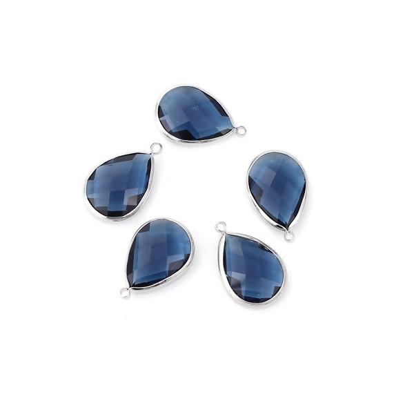 PS110100855 PAX 4 pendentifs Goutte de Verre Bleu 22 mm métal Argenté - Photo n°1