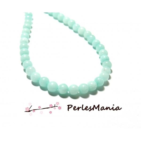 HA1464B06 1 fil d'environ 90 perles rondes imitation Jade Aqua Marine 4mm - Photo n°1