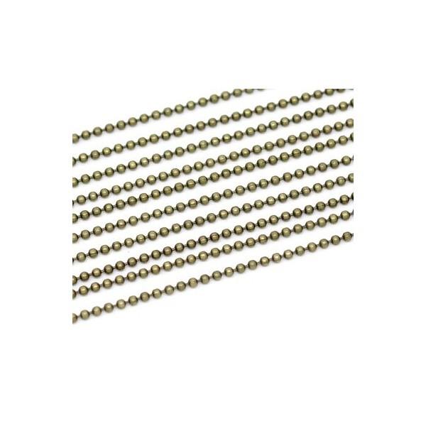PS1114663 PAX 5 mètres chaine Bille 1,5mm métal couleur Bronze pour fabrication de bijoux - Photo n°1