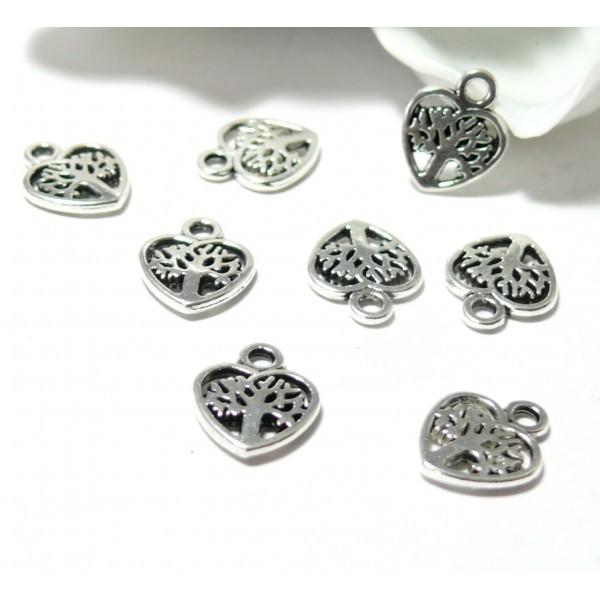 PS110145449 PAX 50 pendentifs breloque Arbre dans coeur 12mm métal Argent Antique - Photo n°1
