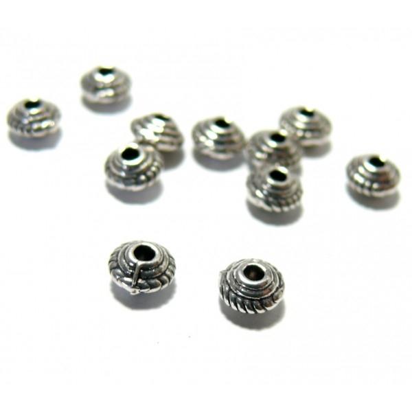 H1110167Y PAX 100 mini perles intercalaire Rondelle Toupies 5 par 3mm métal Argent Antique - Photo n°1