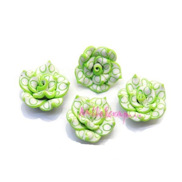 Cabochons fleurs fimo vert - 4 pièces - Photo n°1