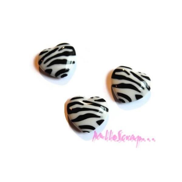 Cabochons cœurs zébrés plastique blanc, noir - 4 pièces - Photo n°1