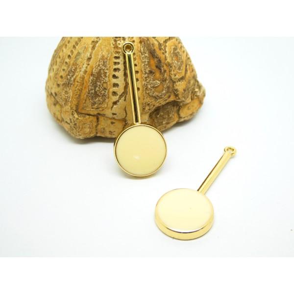 2 Pendentifs, breloques ronds émaillés 33*13mm doré et écru - Photo n°1