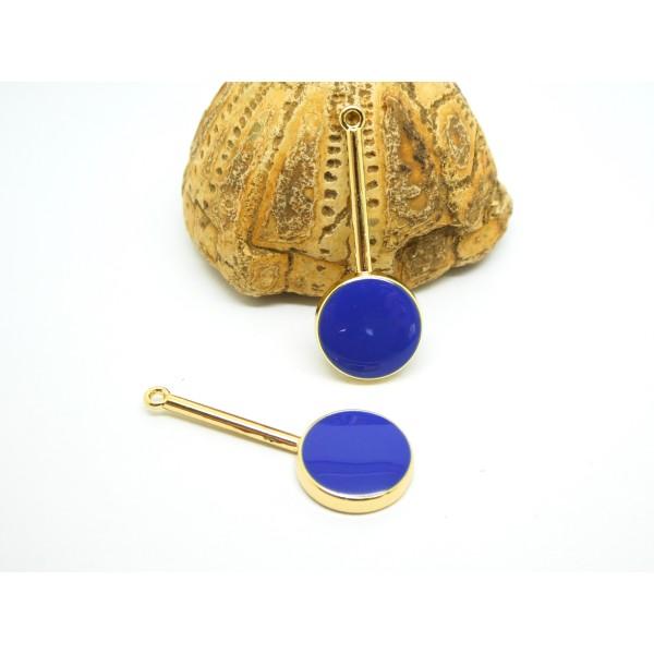 2 Pendentifs, breloques ronds émaillés 33*13mm doré et bleu saphir - Photo n°1