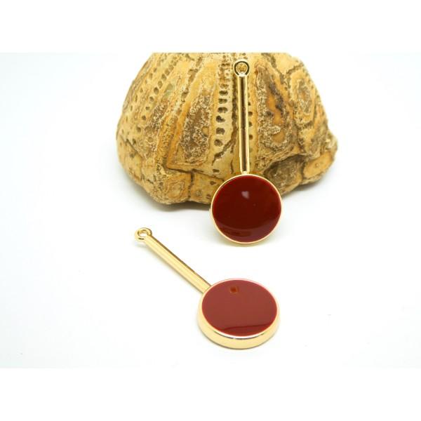 2 Pendentifs, breloques ronds émaillés 33*13mm doré et bordeaux - Photo n°1