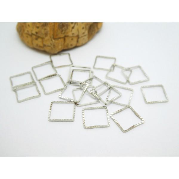 10 Connecteurs  fermés forme carré ciselé 10*10mm argent platine - Photo n°1