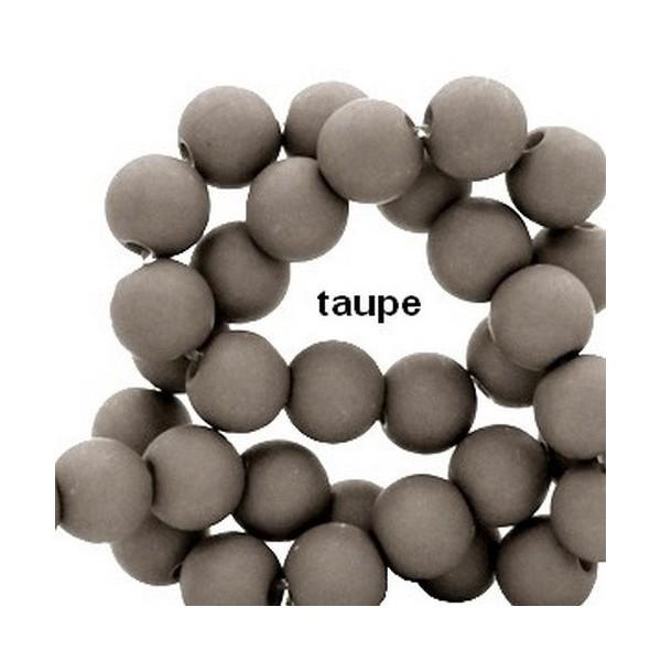 Lot de 200  perles acryliqes 6mm de diametre taupe - Photo n°1