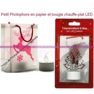 Photophore en papier, haut. 11 cm, Sapin de noël, Bougie chauffe-plat LED inclus