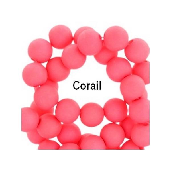 Lot de 200  perles acryliqes 6mm de diametre corail - Photo n°1