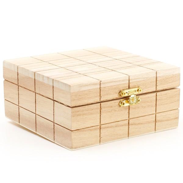 Boite en bois à décorer - 13 x 13 x 6 cm - Photo n°1