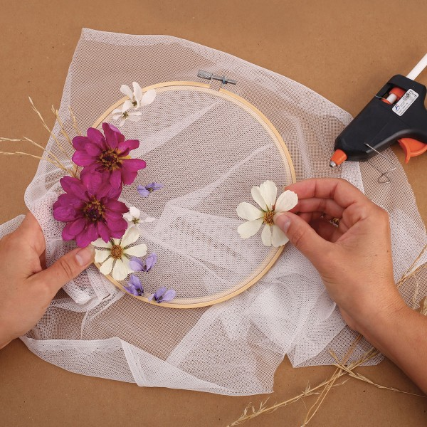 Coupon de tissu tulle à broder - Blanc - 45 x 60 cm - Photo n°2