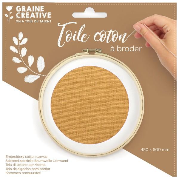 Toile de coton à broder - Camel - 45 x 60 cm - Photo n°1