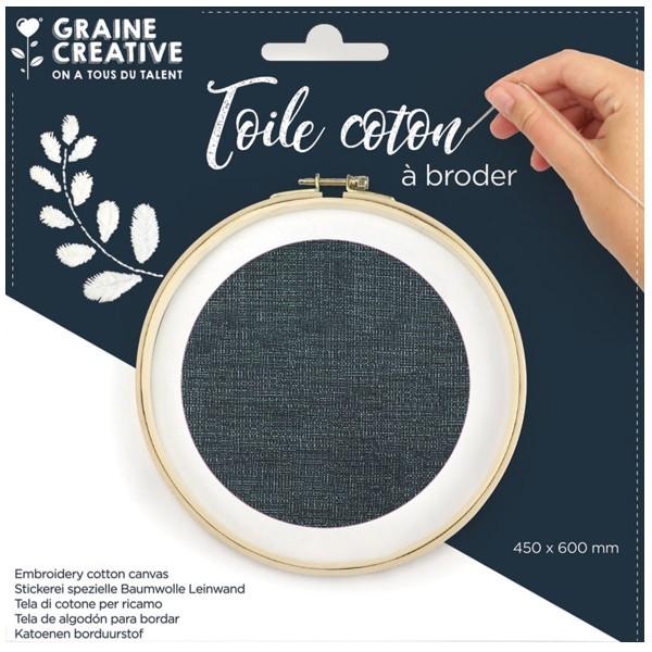 Toile de coton à broder - Bleu marine - 45 x 60 cm - Photo n°1