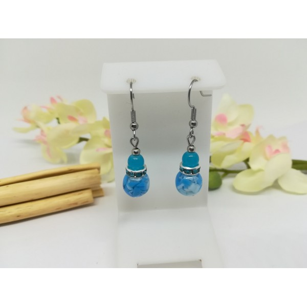 Kit boucles d'oreilles perles en verre et rondelle strass bleu - Photo n°2