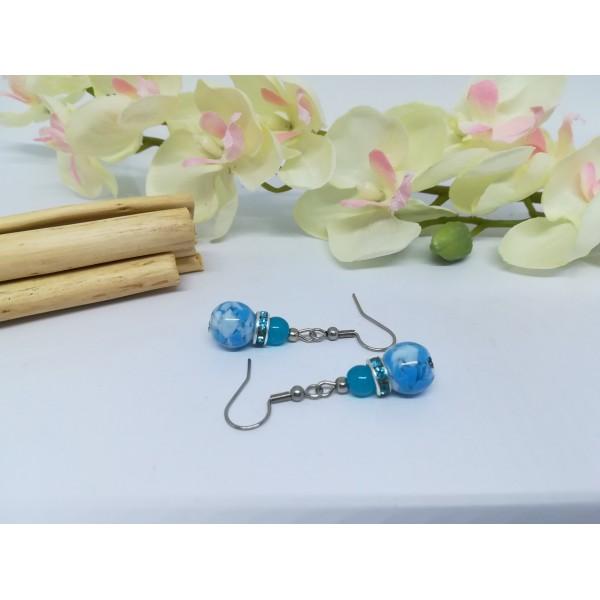 Kit boucles d'oreilles perles en verre et rondelle strass bleu - Photo n°3