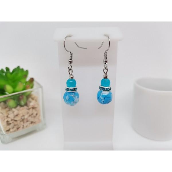 Kit boucles d'oreilles perles en verre et rondelle strass bleu - Photo n°1