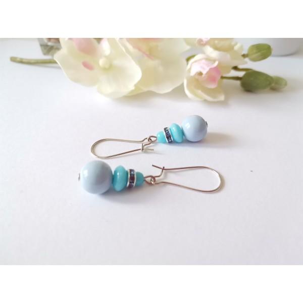 Kit boucles d'oreilles perles et rondelle strass ton bleu - Photo n°2