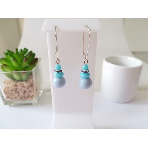 Kit boucles d'oreilles perles et rondelle strass ton bleu - Photo n°1