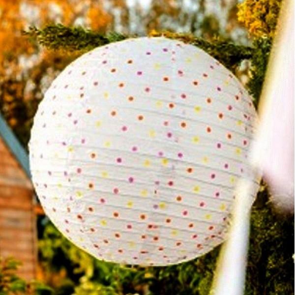 Lanterne Japonaise boule Papier Blanc à pois multicolores, Lampion, 35 cm - Photo n°2
