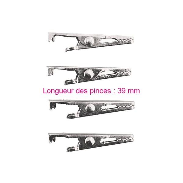 Lot de 4 Pinces crocodiles en métal couleur platine, Longueur 3,9 cm - Photo n°1