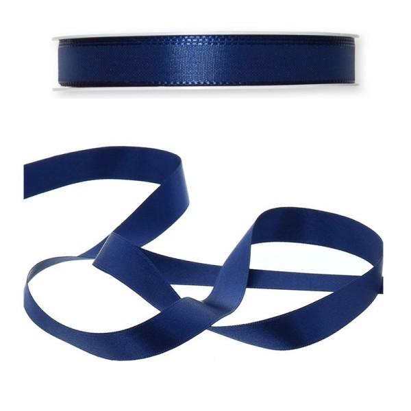 Ruban simple en satin Bleu marine, 15 mm, longueur 24 m, rouleau décoratif - Photo n°1