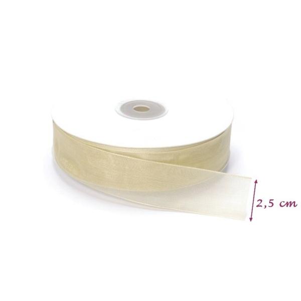 Ruban Organza Crème, bordure brodée, largeur 25 mm, longueur 42 m, rouleau décoratif - Photo n°2