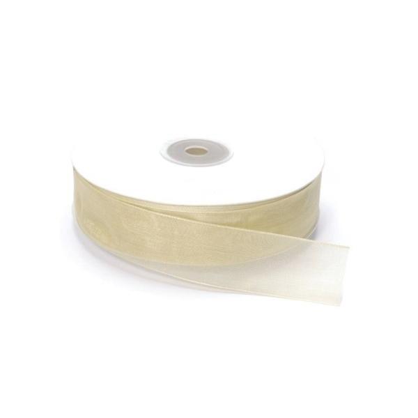 Ruban Organza Crème, bordure brodée, largeur 25 mm, longueur 42 m, rouleau décoratif - Photo n°1
