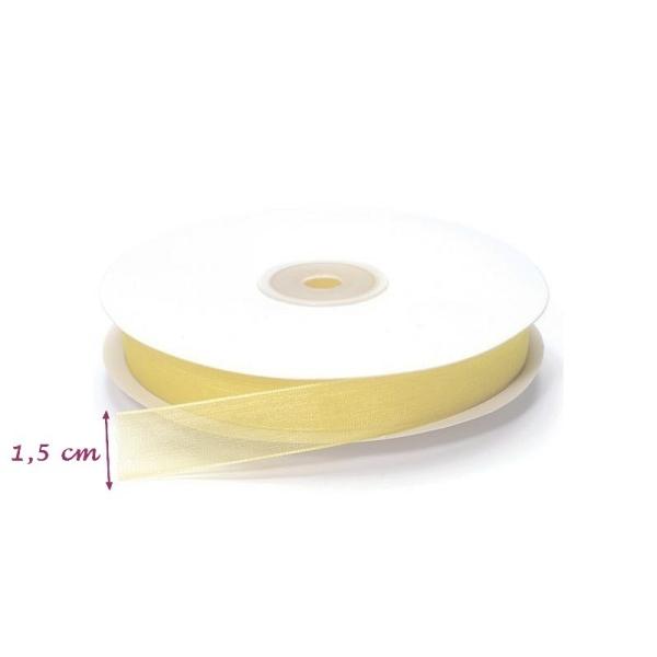 Ruban Organza Crème, bordure brodée, largeur 15 mm, longueur 40 m, rouleau décoratif - Photo n°1