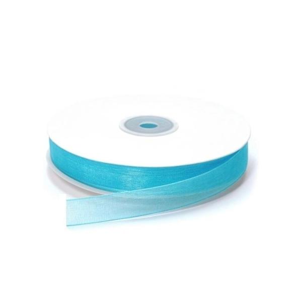 Ruban Organza Turquoise, bordure brodée, largeur 15 mm, longueur 33 m, rouleau décoratif - Photo n°1