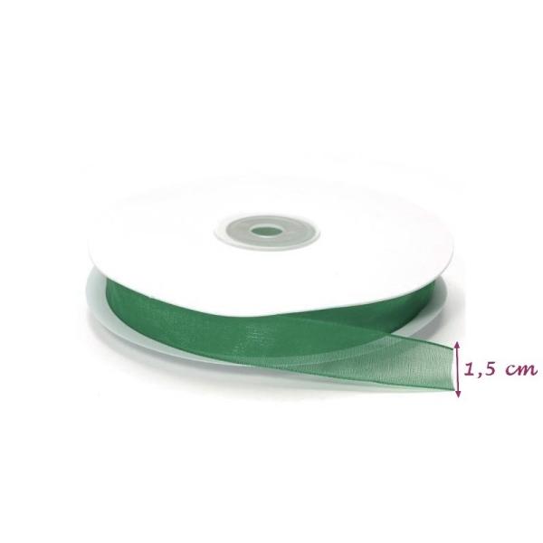 Ruban Organza Vert Sapin, bordure brodée, largeur 15 mm, longueur 44 m, rouleau décoratif - Photo n°1