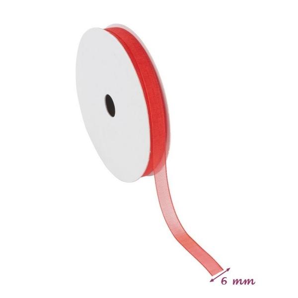 Ruban Organza Rouge, bordure brodée, largeur 6 mm, longueur 44 m, rouleau décoratif - Photo n°2