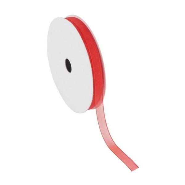 Ruban Organza Rouge, bordure brodée, largeur 6 mm, longueur 44 m, rouleau décoratif - Photo n°1