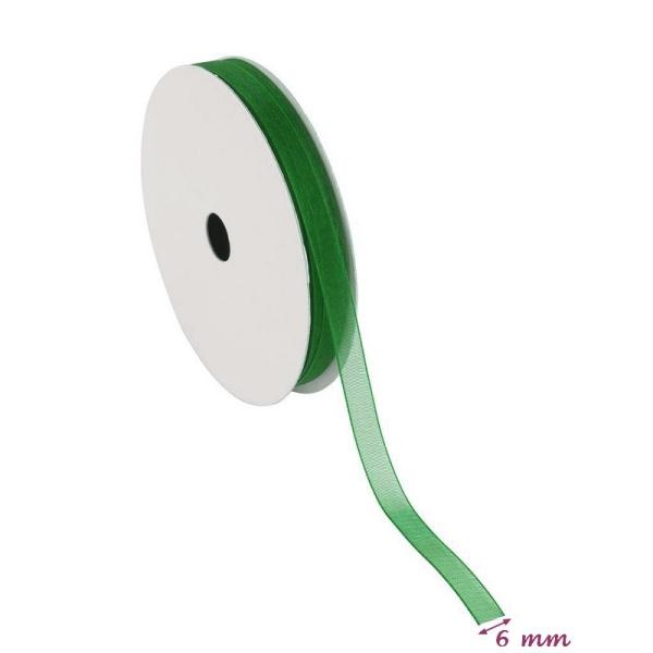 Ruban Organza Vert, bordure brodée, largeur 6 mm, longueur 30 m, rouleau décoratif - Photo n°2